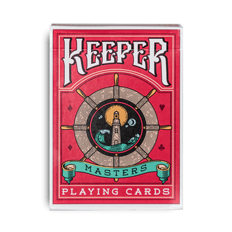 Keeper red playing cards